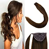 LaaVoo 12' Long Straight Wrap Around Ponytail Real Human Hair Extensions Lovely Color Dark Brown For Women Thick Hairpiece Binding Pony Tail Extension 70g (#4)