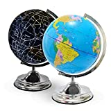 Illuminated Kids Globe with Stand - Educational Gift with Detailed World Map and LED Light, Shows Constellations at night (Power Cord Included)