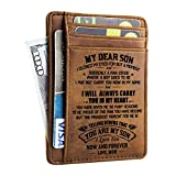 Minimalist Wallets Gift for Son from Mom - Engraved Leather Front Pocket Wallet - Custom Wallet RFID Blocking (A - Mom to Son)