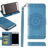 Black Sales Friday Cyber Sales Monday Deals-Valentoria for iPhone 6Plus Wallet Case,Valentoria Mandragora Flower Premium Vintage Emboss Leather Wallet Pouch Case with Wrist Strap for iPhone 6Plus
