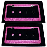 Carfond 2 Pack 7 Row Pure Handmade Waterproof Bling Bling Rhinestones Stainless Steel Metal License Plate Frame with 2 Holes Bonus Matching Screws Caps (Hot Pink)