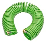 GREEN MOUNT Garden Recoil Hose with Aluminum Connectors Retractable Heavy-Duty 50 ft Coil Water Hose
