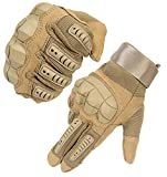 HIKEMAN Full Finger Touch Screen Tactical Military Gloves Hard Knuckle Gloves for Hunting Shooting Motorcycle Cycling Hiking (Tan, Medium)