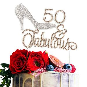 LINGTEER 50 Fabulous Silver High Heel Rhinestone Crystal Cake Topper Perfect for 50th Birthday Anniversary Gift Keepsake Sparkle Party Decoration 51Q7nfwH7lL