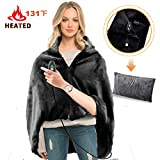 RTDEP USB Heated Shawl Heated Blanket Plush Throw Blanket with Pillowcase, Heated Throw Electric Lap Blanket as a Pillow, Heated Cape Lap Blanket Heated Flannel Blanket