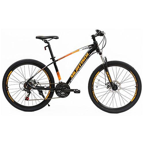 """Murtisol 27.5"""" Mountain Bike 21 Speed Bicycle Disc Brake Steel Frame Orange Black"""