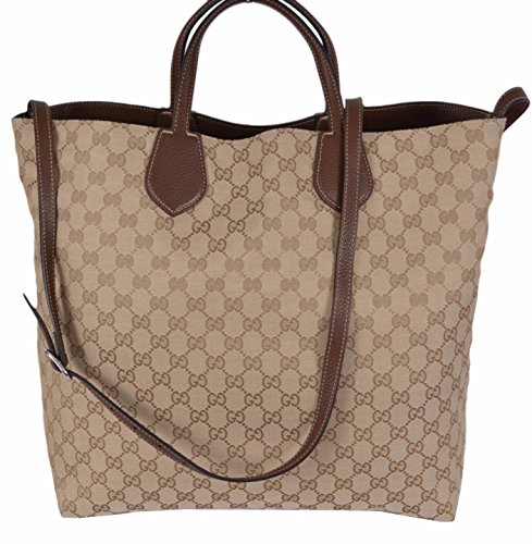 """51Q9uNNqHuL Sand Beige Canvas with GG Guccissima Pattern Reverses to Solid Brown Textured Leather Adjustable Shoulder Strap with a 22"""" Drop"""