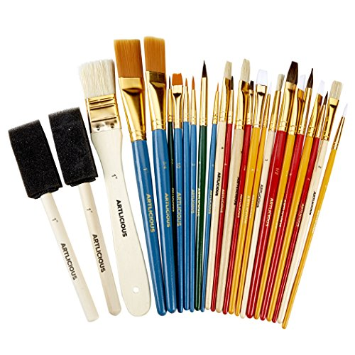 All Purpose Paint Brush Value Pack - Great with Acrylic, Oil, Watercolor, Gouache (25 Brushes)