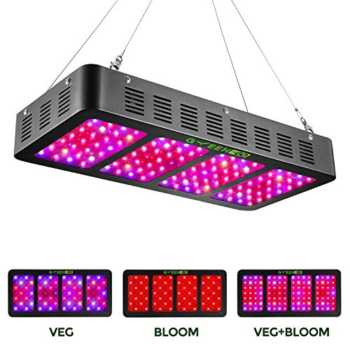 1200w LED Grow Light with Veg&Bloom Switch,GREENGO 3 Chips LED Plant Grow Lamp Full Spectrum with Daisy Chain for Indoor Plants Veg and Flower (LED Grow Light)