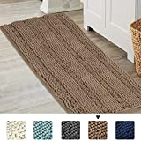 Non-Slip Bathroom Rugs Shag Shower Bath Runner Rug Water Absorbent Machine-Washable Shag Bath Mat Large Size 17x47 Inch Taupe, Striped Pattern