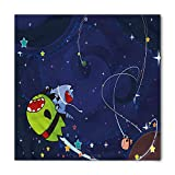 Space Cat Bandana, Cartoon Kitten Aliens, Unisex Head and Neck Tie S 60cmx60cm
