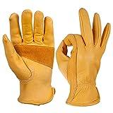 OZERO Flex Grip Leather Work Gloves Stretchable Tough Cowhide Working Glove 1 Pair (Gold, Medium)