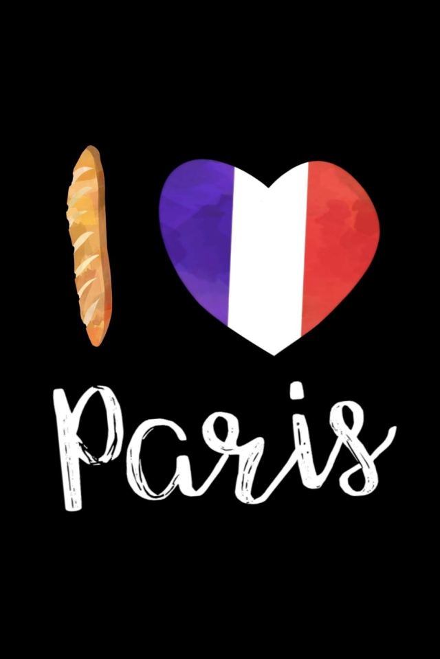 I Love Paris: Cute France Themed Notebook with Baguette and French