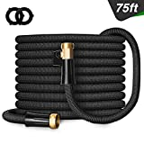 """Besiter Expandable Garden Hose, 75FT Lightweight and Kink Free Flexible Water Hose with 3/4"""" Heavy Duty Brass Connectors & Shut Off Valve Black"""