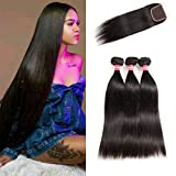 LONG YAO Brazilian Virgin Straight Human Hair 3 Bundles with 4 x 4 Lace Closure with Bundles Straight Human Hair Weave Natural Color(Straight 20 22 24+18 Closure, Straight Bundles with Closure)