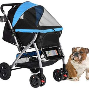 HPZ Pet Rover Premium Heavy Duty Dog/Cat/Pet Stroller Travel Carriage with Convertible Compartment/Zipperless Entry/Reversible Handlebar/Pump-Free Rubber Tires for Small, Medium, Large Pets 6