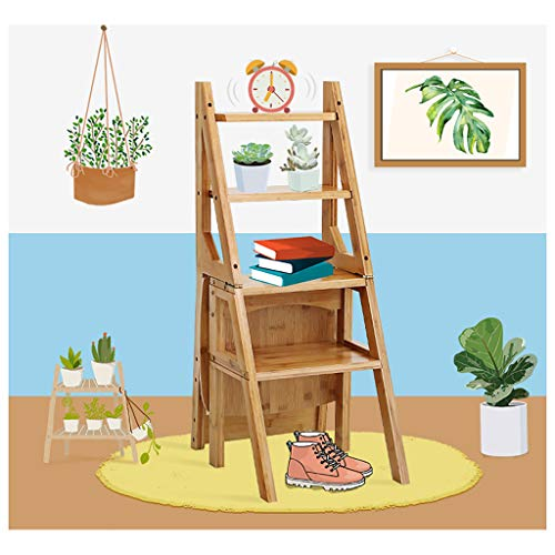 Jin Step Stool Solid Wood Folding Ladder Chair Dual Purpose Step Stool 4 Step Ladder Rack Chair Multi-Convertible Stair Stool Home Kitchen Garden Library