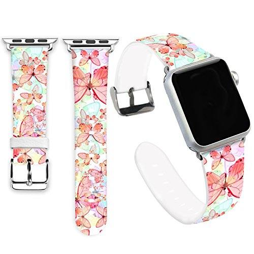 Jolook for Apple Watch Bands 38mm,Jolook Soft Leather Sport Style Replacement iWatch Strap for iWatch Apple Watch 38mm Series 1 Series 2 Series 3 Series 4 - Fantastic Butterflies