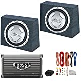 2 BOSS Audio CX122 12' 1400W Car Subwoofers + Sealed Boxes + Amplifier+ Wiring