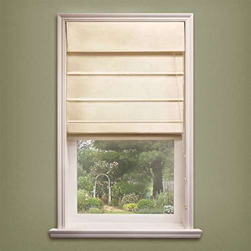 Chicology Standard Cord Lift Roman Shades Soft Fabric Window Blind, 23'W X 64'H, Sahara Sandstone (Privacy & 100% Cotton)