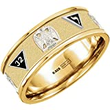 New Customizable up to 8 Emblems Vermeil Gold Plated with Silver Emblems Scottish Rite Freemason Ring Band, Size 11.5