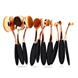 Bestidy Professional 10 Pcs Soft Oval Toothbrush Makeup Brush Sets Foundation Brushes Cream Contour Powder Blush Concealer Brush Mothers Day Gifts Makeup Cosmetics Tool Set (Golden)