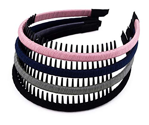 STHUAHE 4 PCS Exquisite Women Girl Pure Color Protection Resin Teeth Comb Hair Hoop Hairband Headband Hair Accessories by Beauty hair (4 Color)