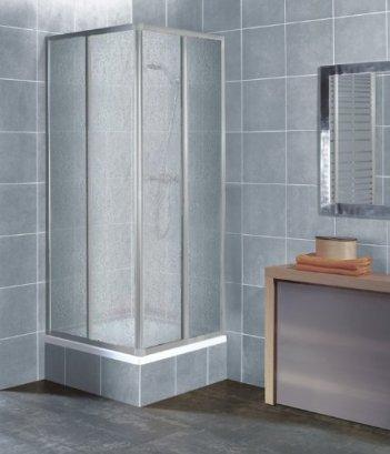 Eckeinstieg Duschkabine Kunststoffglas Tropfendekor Silberne Profile 80x80 90x90 80x90 90x80 Silberne Profile 80x80 90x90 80x90 90x80