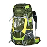 Makino 60L Outdoor Sports Backpack Adjustable Internal Frame Backpack Waterproof Trekking Bag of Rain Cover for Outdoor Hiking Travel Climbing Camping Mountaineering (Seaweed Green)