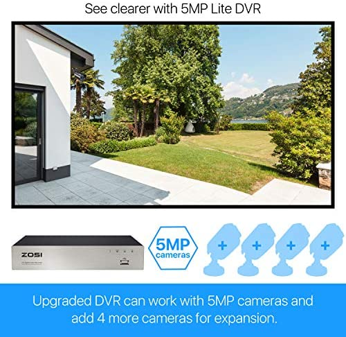 ZOSI 1080P Security Camera System with 1TB Hard Drive H.265+ 8CH 5MP Lite HD-TVI Video DVR Recorder with 4X HD 1920TVL 1080P Indoor Outdoor Weatherproof CCTV Cameras ,Motion Alert,Remote Access
