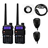 BaoFeng 2 Pack Uv-5Rtp Tri-Power 8/4/1W Two-Way Radio Transceiver (Uv-5R Upgraded Version with Tri-Power), Dual Band 136-174/400-520MHz True 8W High Power + 1 Programming Cable + 2 Remote Speakers