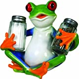 River's Edge Hand Painted Poly Resin Salt and Pepper Shaker Set (Tree Frog)