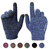 Achiou Winter Knit Gloves Touchscreen Warm Thermal Soft Lining Elastic Cuff Texting Anti-Slip 3 Size Choice for Women Men (Blue, XL)