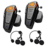 Baile Bluetooth Headset for Motorcycle Helmet Intercom interphone walkie-Talkie for Motorcycle Motorbike Music Handsfree to 2-3 Riders Within 800m (2 Pack)
