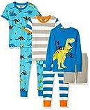Spotted Zebra Little Kids' 6-Piece Snug-Fit Cotton Pajama Set, Dinoland, Small (6-7)