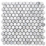 Stone Center Online Carrara White Italian Carrera Marble Hexagon Mosaic Tile 1 inch Polished Venato Bianco Bathroom Kitchen Backsplash Floor Tile