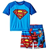 Superman Boys Swim Trunks and Rash Guard Set (2T, Blue)