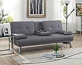Naomi Home Futon Sofa Bed with Armrest Gray