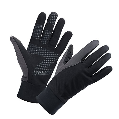 OZERO Touch Screen Gloves for Men, Winter Warm Touch Glove for Smart Phone Texting with Non-Slip Silicone Gel - Thermal Cotton - Windproof and Waterproof for Running, Cycling, Driving - Black (Large)