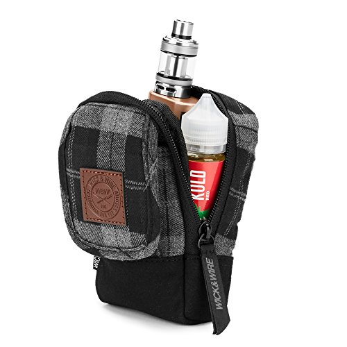 Vape Carrying Case for Travels - Secure, Organized, Premium Vape Bag - Fits Medium Mechanical Box Mods, e-Juice, Battery, Tank Holder & Accessories - Wick and Wire (Stash Gray Plaid)