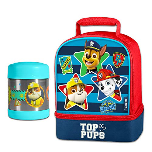 Paw Patrol Thermos Lunch Box and Funtainer Set for Kids - Bundle Includes Dual Compartment Insulated Lunch Box and 12 Hour Cold Drink Stainless Steel Funtainer Water Bottle Food Jar
