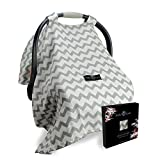 Best Baby Car Seat Covers for Boys and Girls with Innovative Wind-Proof Design, INCLUDES BONUS E-BOOK on Breastfeeding Tips, Can be Used as a Nursing Cover, Makes for a Perfect and Thoughtful Baby Shower Gift, Attractive Canopy Seat Cover that are Secure, Breathable, and Safe for Babies, Adorable Grey Chevron Pattern Print, Includes an Amazing Total Satisfaction Guarantee!
