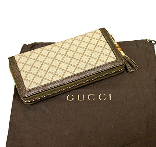 51QcY FW kL Pleasant Gucci Bamboo Bronze Diamante Canvas Clutch Zip Around Wallet Materials: Leather trim, Canvas Signature diamante print, Signature bamboo detail, Coin pocket with zip closure.