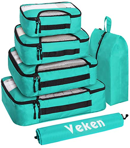 Veken 6 Set Packing Cubes, Travel Luggage Organizers with Laundry Bag and...