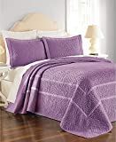 MARTHA STEWART - Flowering Trellis Purple Queen Quilted Bedspread