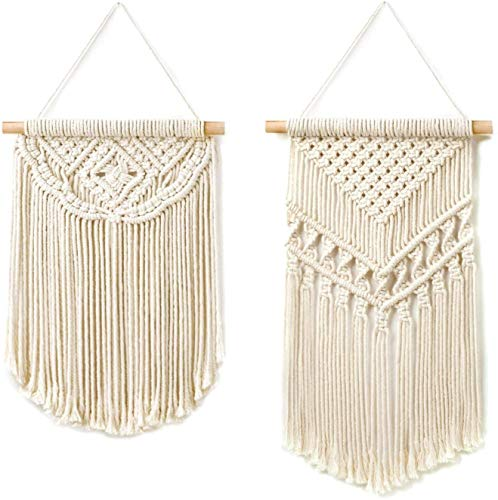 ecofynd [2 Pack] Macrame Boho Wall Hanging | Bohemian Nordic Woven Wall Decor Tapestry, Hippie Beautiful Geometric Art for Apartment, House Living Room Home Decoration Handmade Ornament