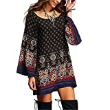 Women Dress,Haoricu Women's Long Sleeve Vintage Party Beach Dress Casual Vestidos (XL, Multicolor)