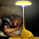 WOMHOPE Cute Elephant Children's Night Lights Flexible Angles Desk Lamp - Design Button Touch Sensor Control 3-Level - Rechargeable - for Kids,Baby,Children (Yellow)