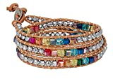 SPUNKYsoul New! Chakra Awareness Leather Wrap and Crystal Bracelet for Women Collection (Tan)