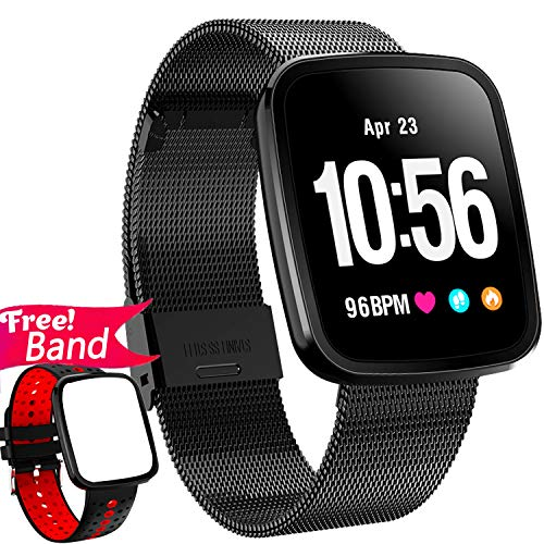 [Gorilla Glass] 1.3'' Smart Watch Fitness Tracker Heart Rate Monitor Blood Pressure for Women Men IP67 Waterproof Removable Smart Band Pedometer Activity Tracker Watch Health Monitor Run IOS Android